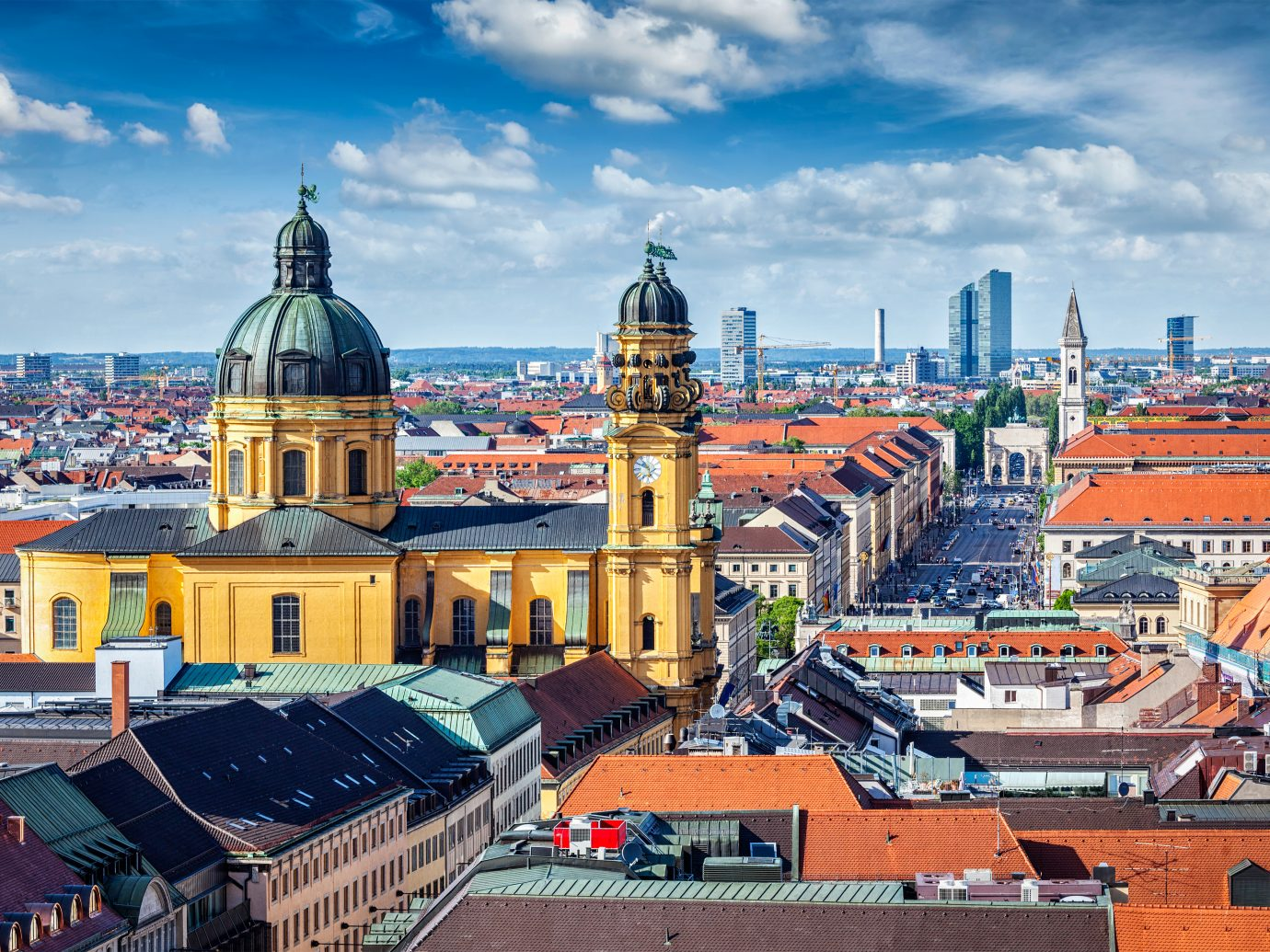 Aerial view of Munich over Theatine Church of St. Cajetan
