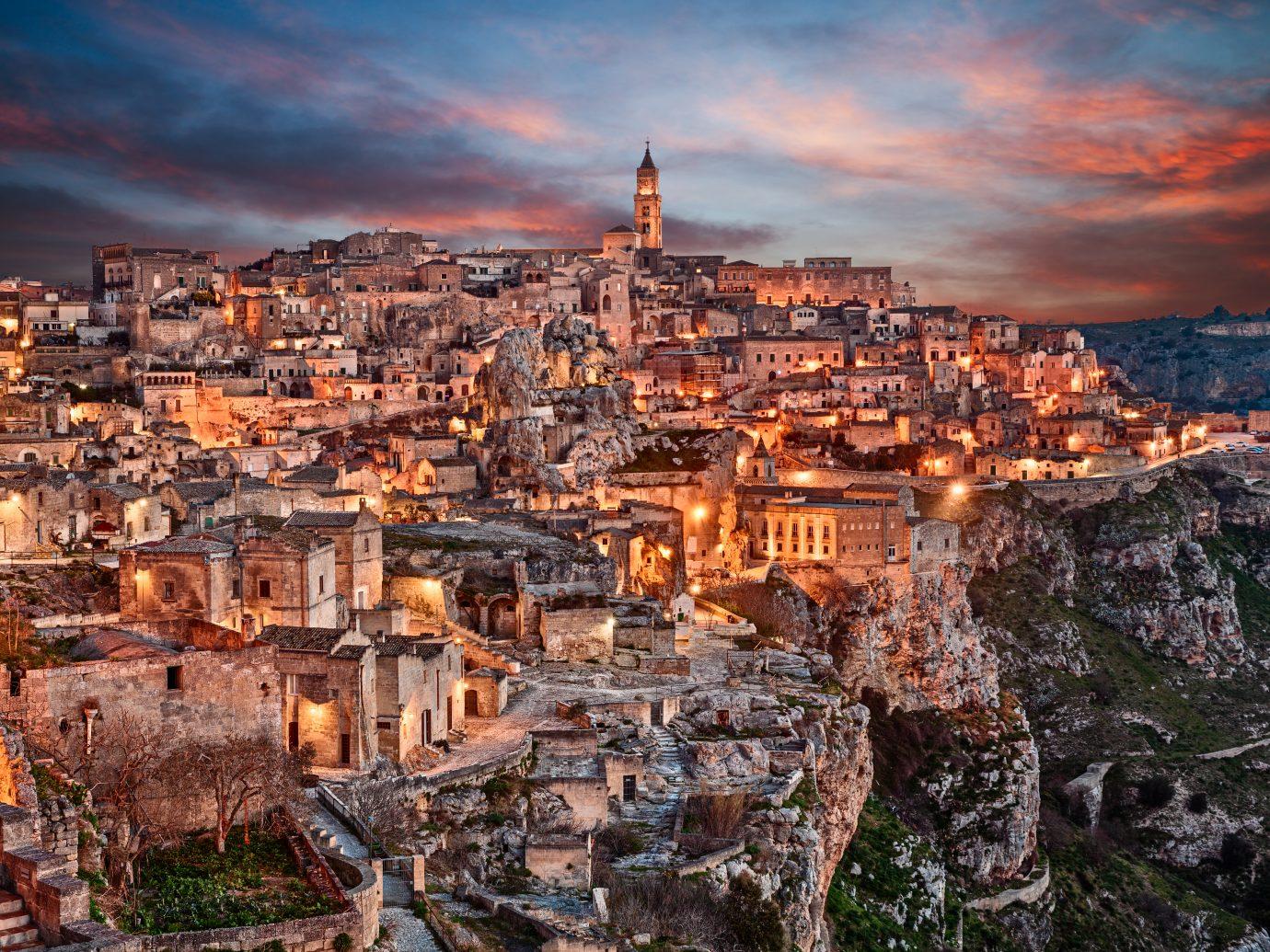 Matera, Basilicata, Italy: landscape at dawn of the old town (sassi di Matera), European Capital of Culture 2019