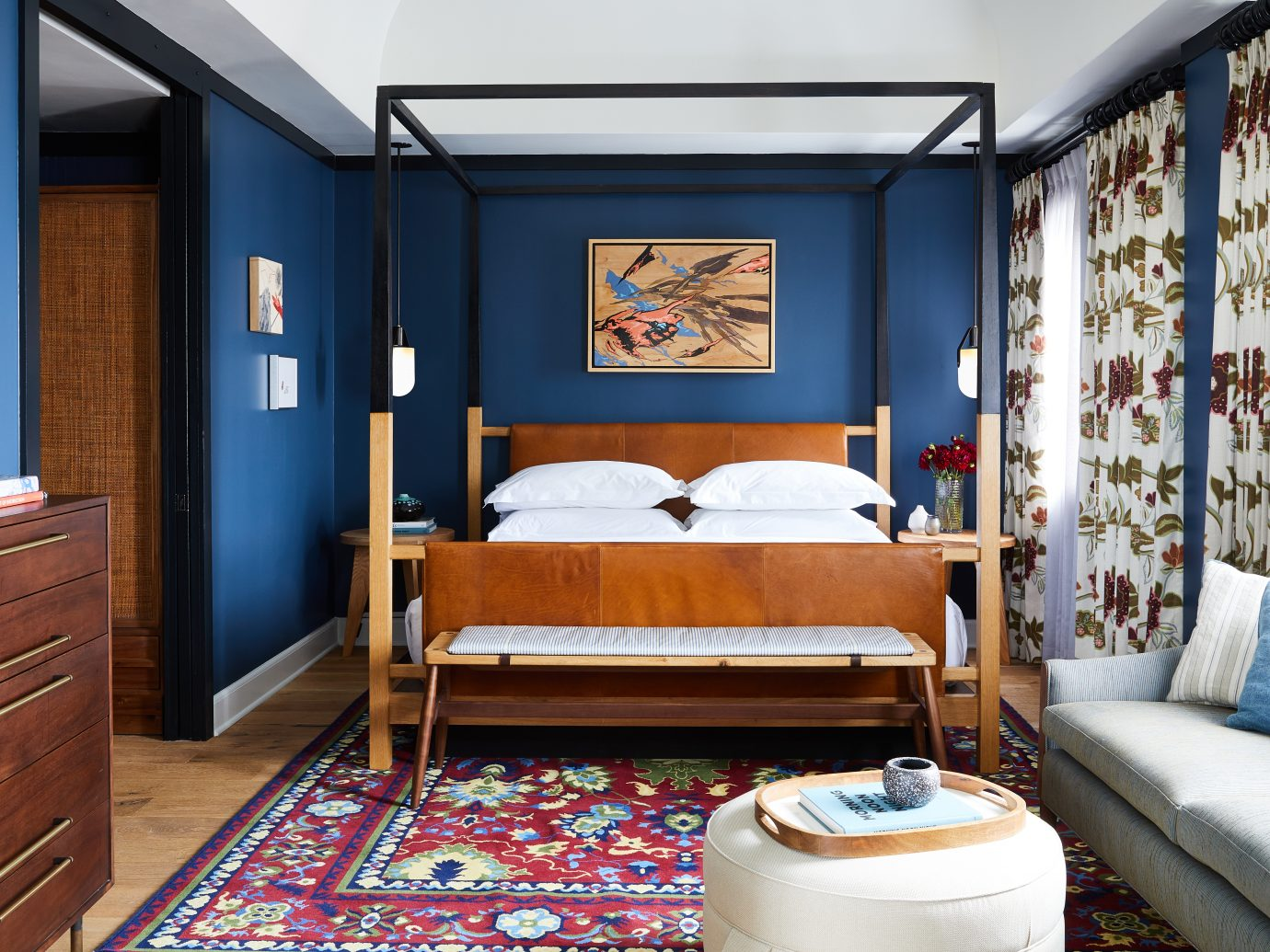 Bedroom of the Revival Hotel in Baltimore