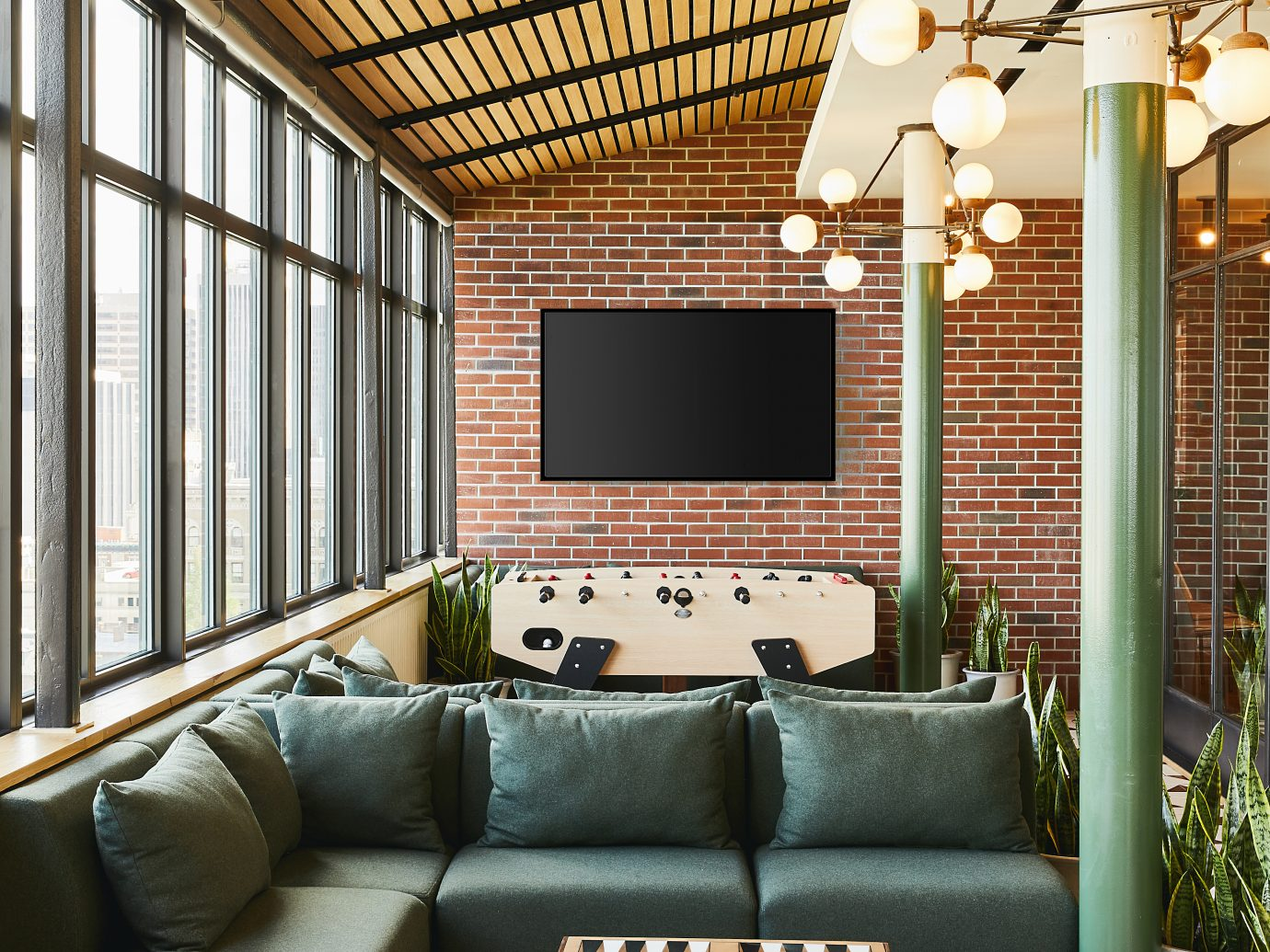 Lounge of Hotel Revival in Baltimore