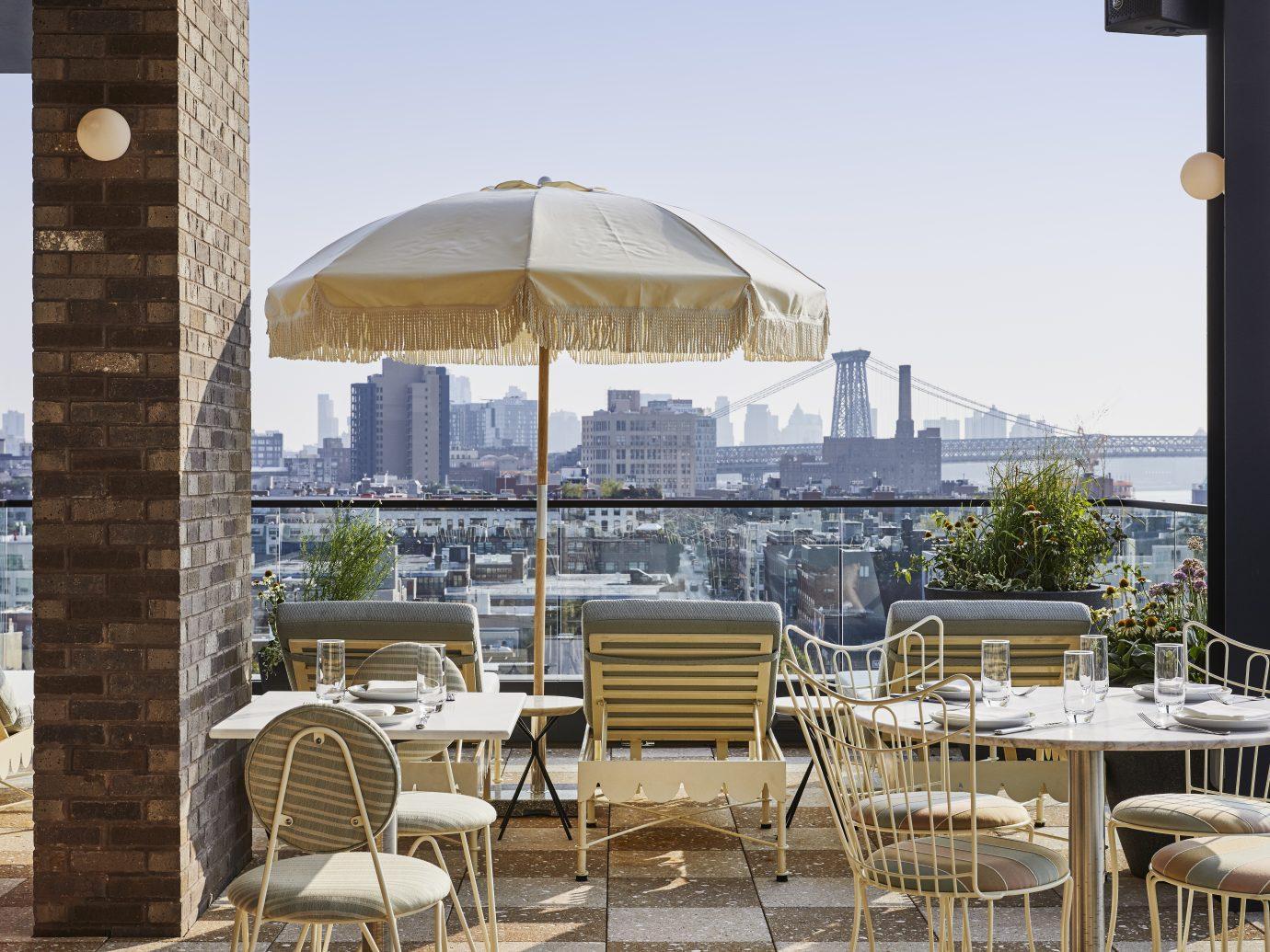 outdoor rooftop bar space