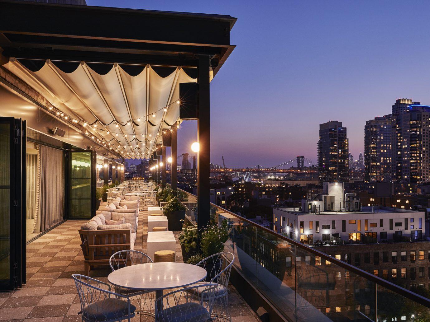 outdoor bar at dusk