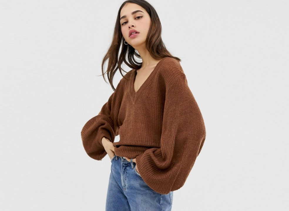 Brave Soul Harrio V-Neck Sweater with Wide Sleeves
