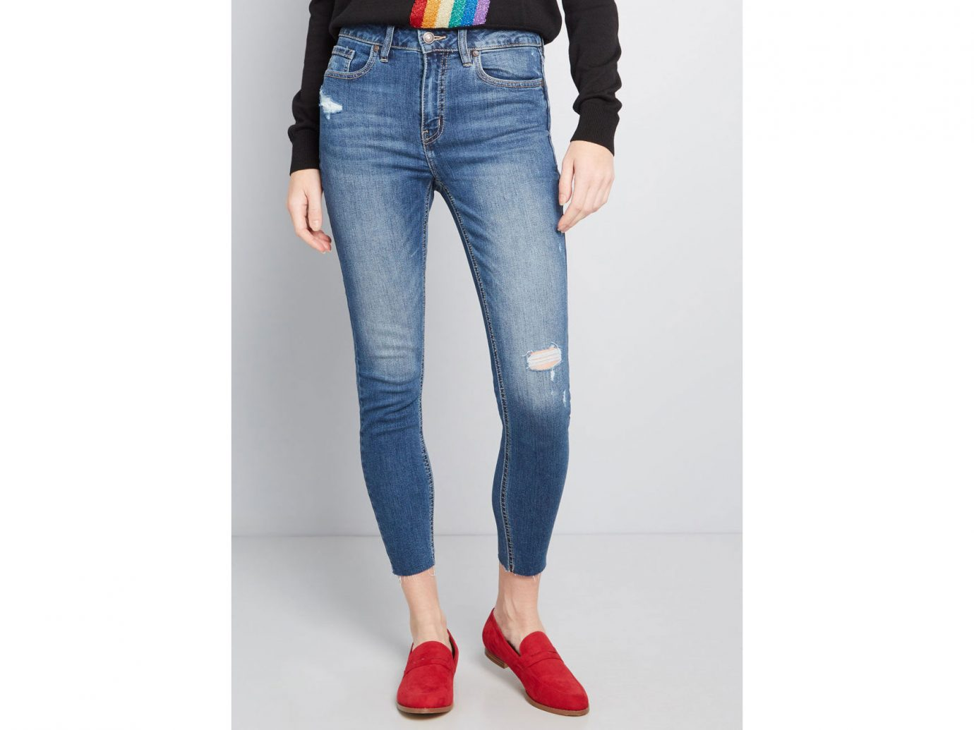 Modcloth Crop the Talk Distressed Skinny Jeans