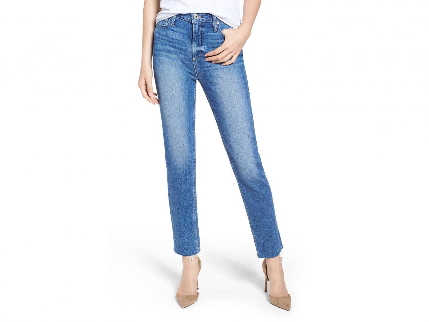 PAIGE Vintage Hoxton High Waist Slim Raw Hem Jeans