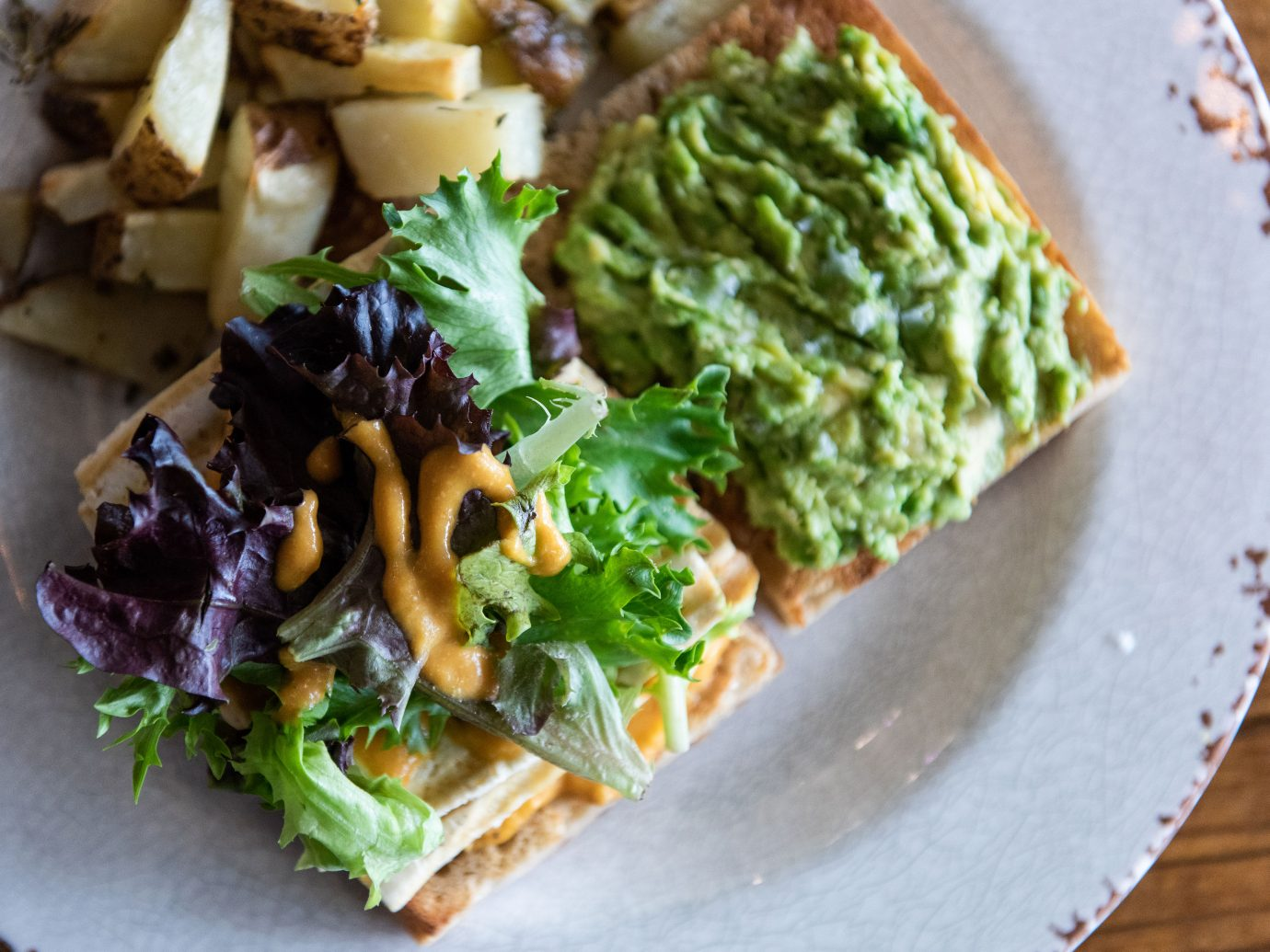 avocado toast with lettuce at Seed Cafe, Minneapolis, MN