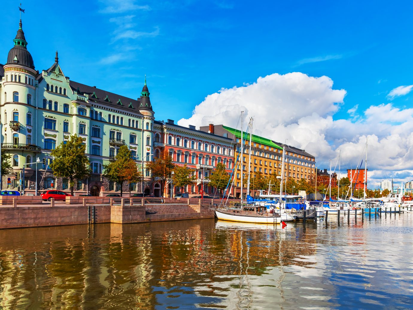 Scenic summer view of the Old Port pier in Helsinki