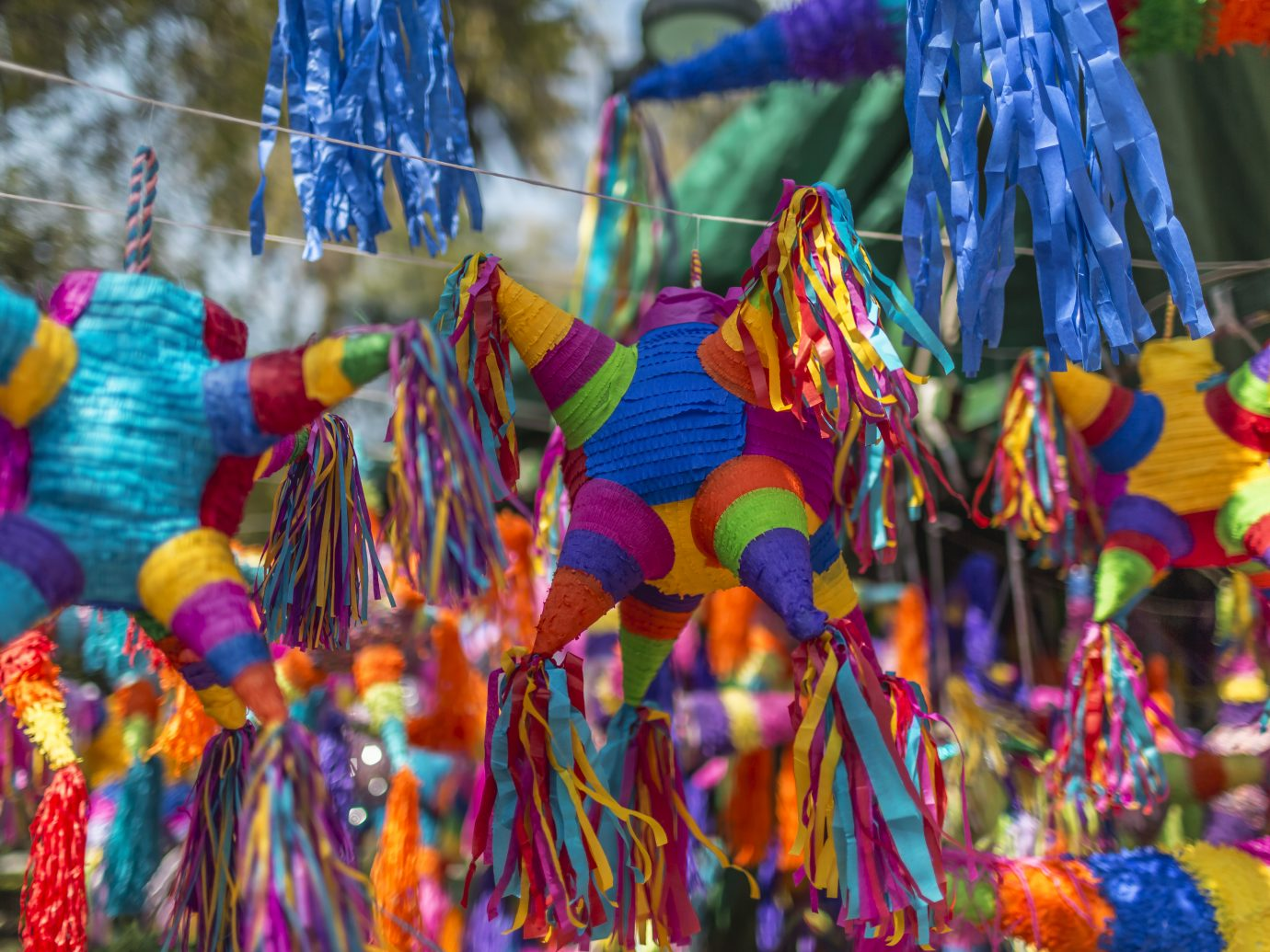 Colorful image from Mexican pinatas. This craft is very popular and can be purchased at any stand throughout Mexico.