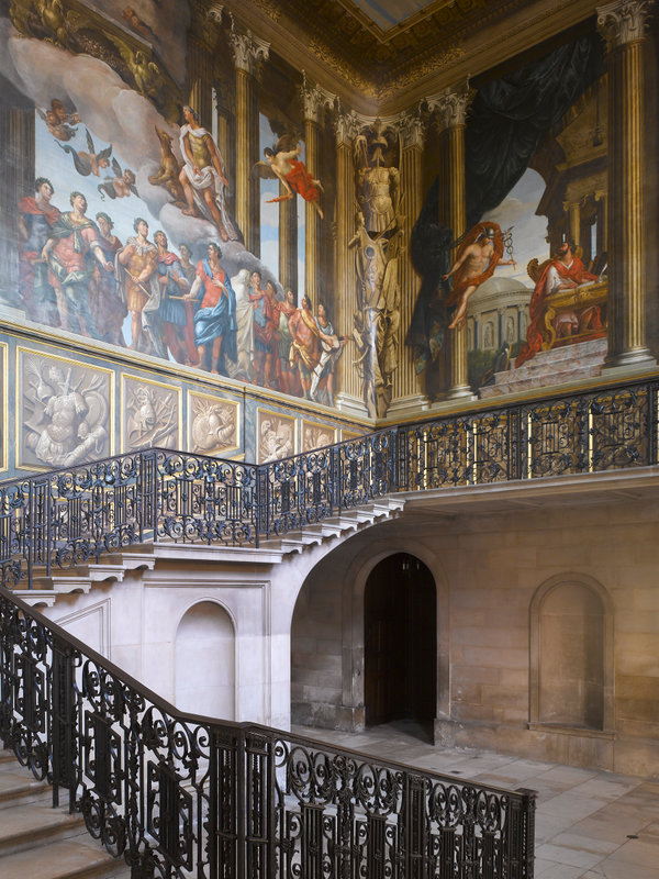 Hampton Court Palace,James Brittain,The King's Staircase, looking south east, showing murals by Antonio Verrio and wrought iron balustrade by Jean Tijou