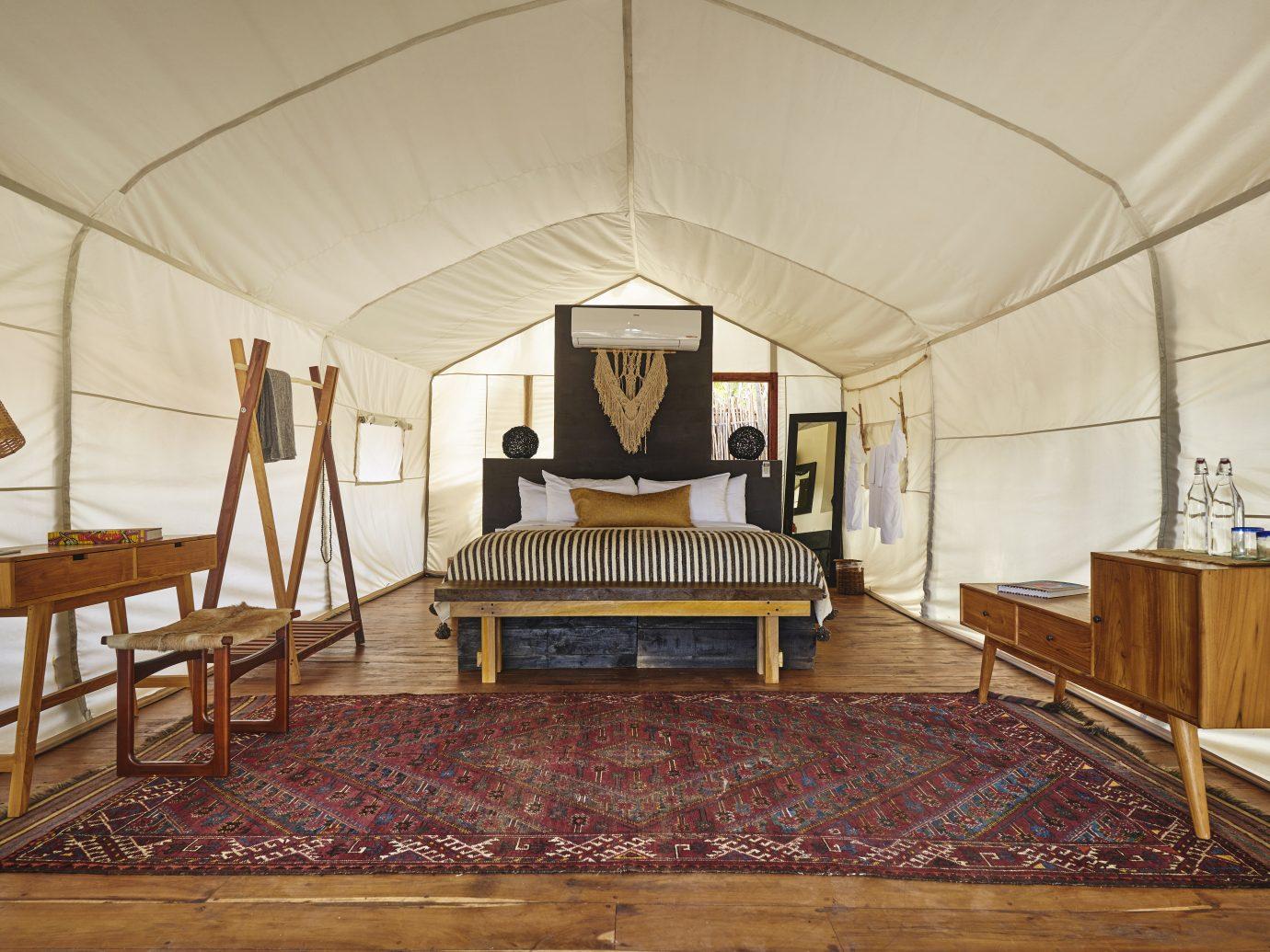 tent/bungalow room interior
