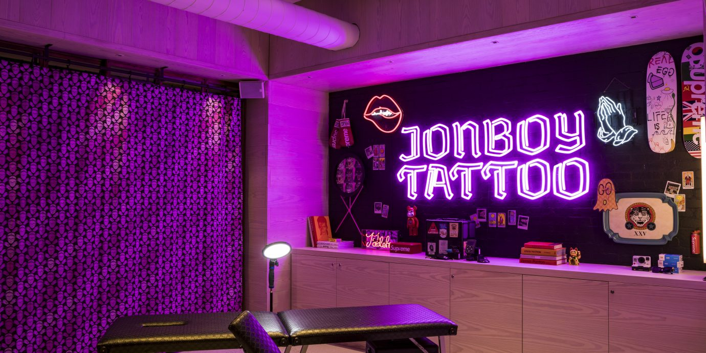 inside of JonBoy's Tattoo shop at the Moxy