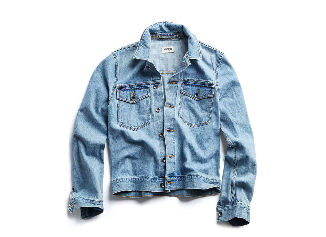 JAPANESE STRETCH SELVEDGE DENIM JACKET IN DAD WASH