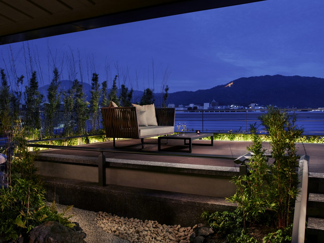 outdoor terrace at night