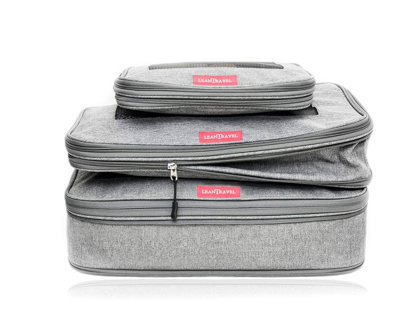 LeanTravel Compression Packing Cubes with Double Zipper (Set of 3)