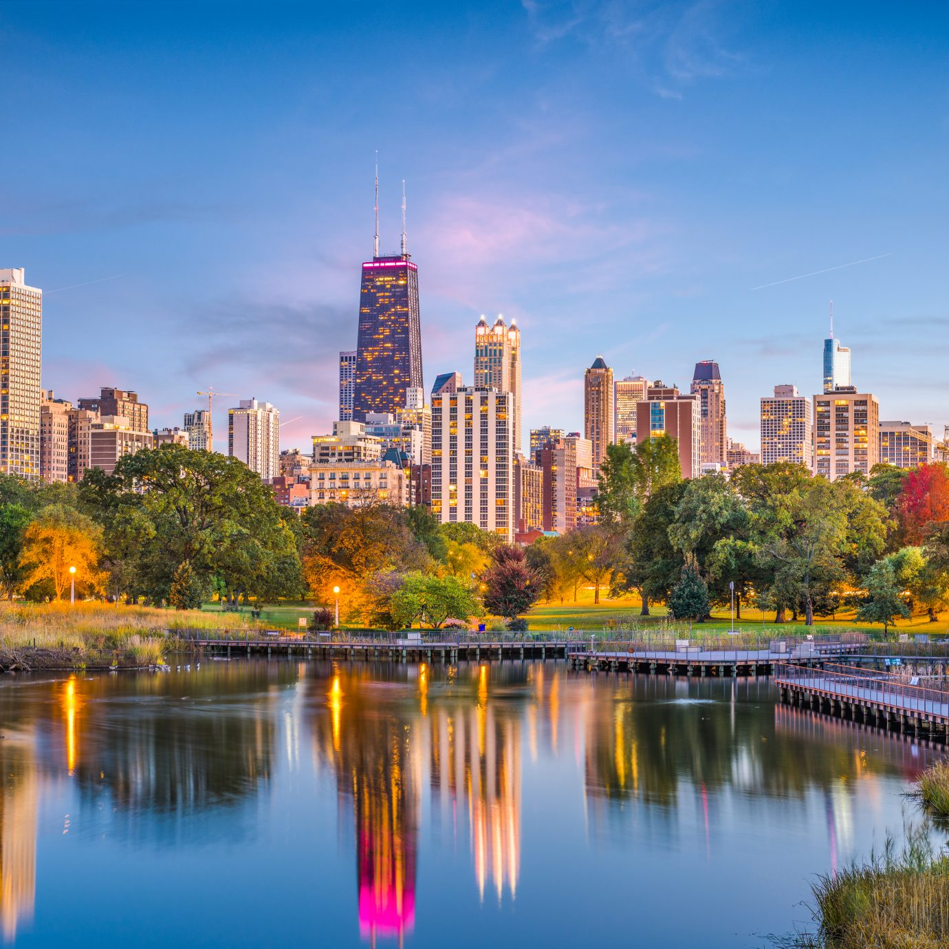 Chicago, Illinois, USA downtown skyline from Lincoln Park at twilight.