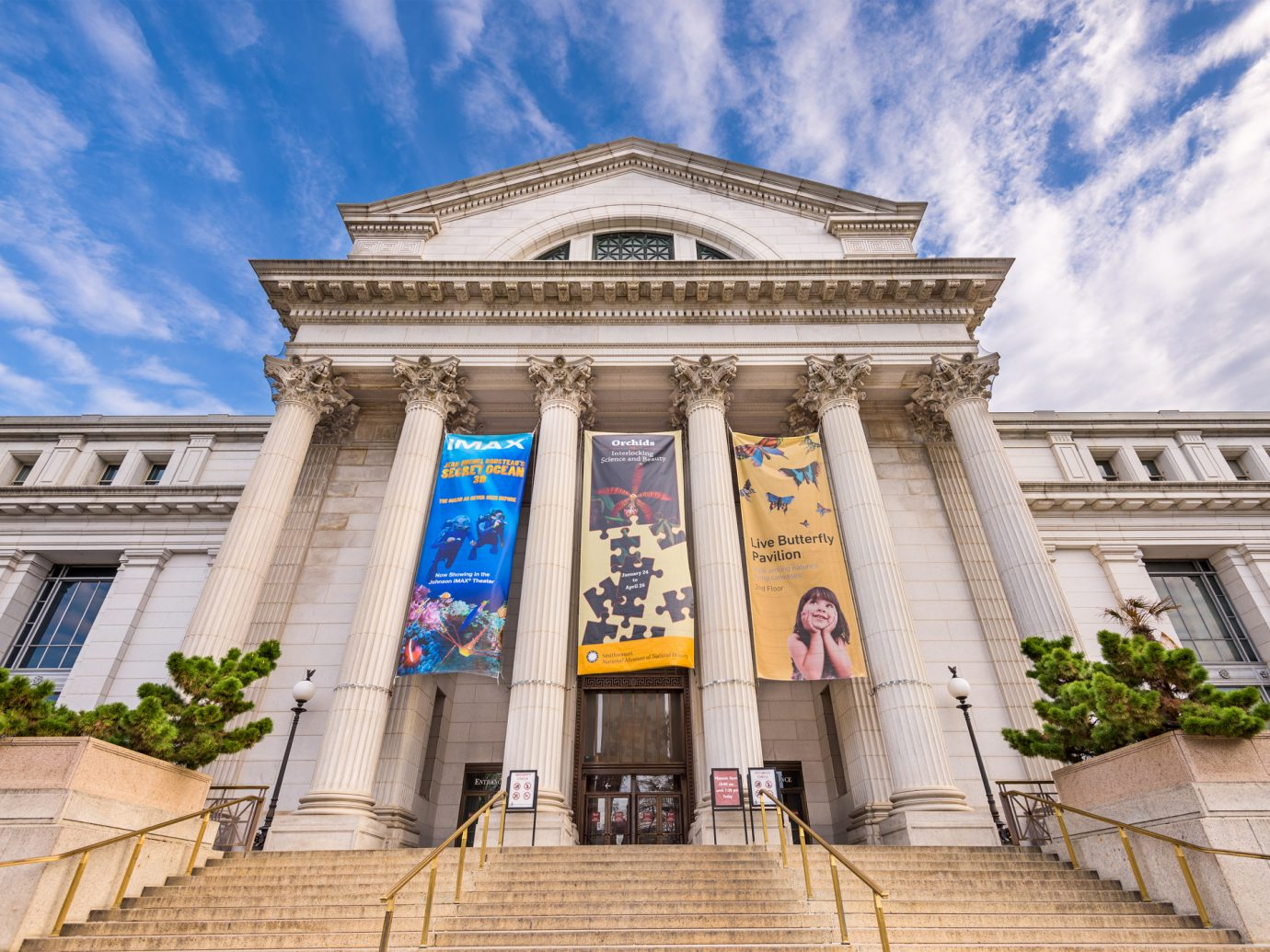 Washington DC, USA - April 12, 2015: Banners hang at the entrance to the National Museum of Natural History in DC. It is considered the second most visited museum in the world.