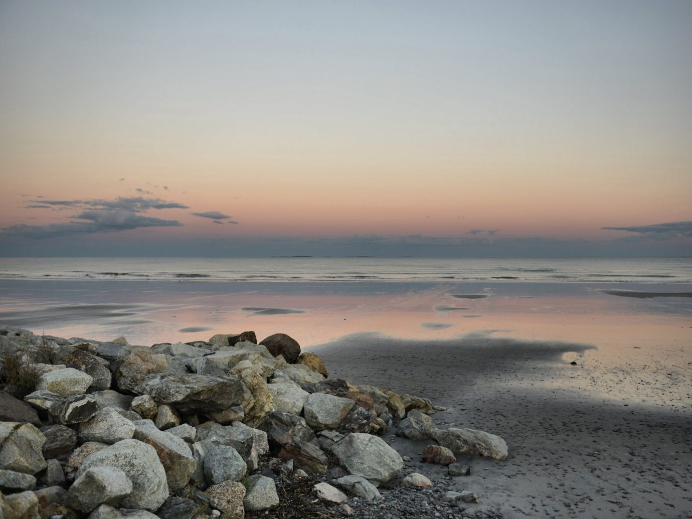 Autumn sunset on Rye Beach New Hampshire, USA