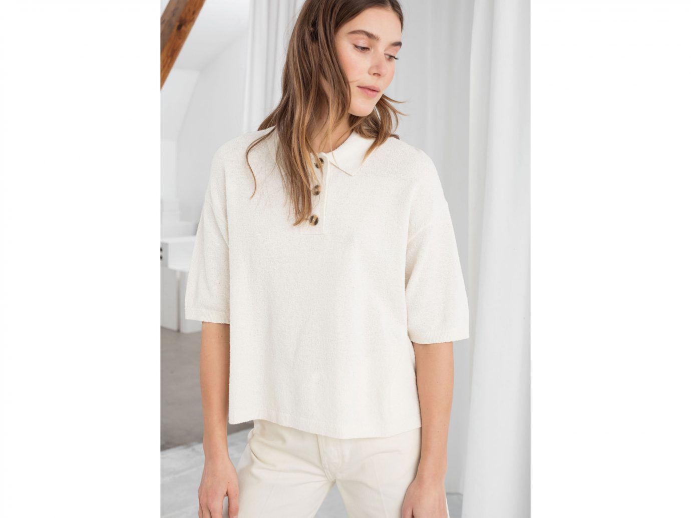 & Other Stories Textured Cotton Blend Polo Top