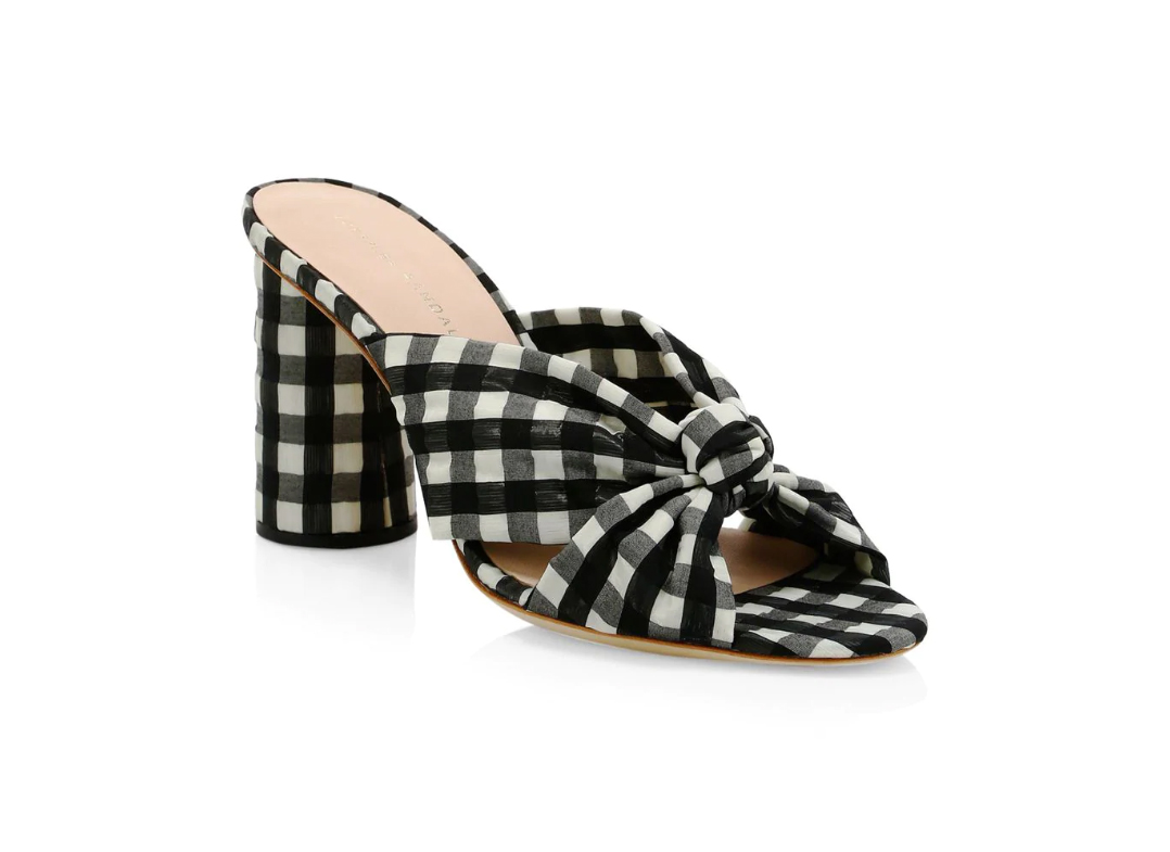 Loeffler Randall Coco Knotted Gingham Mules
