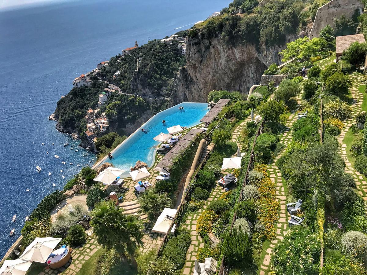 Pool view at Monastero Santa Rosa Hotel & Spa