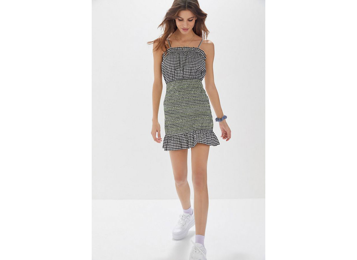 Urban Outfitters Fremont Smocked Contrast Stitch Dress