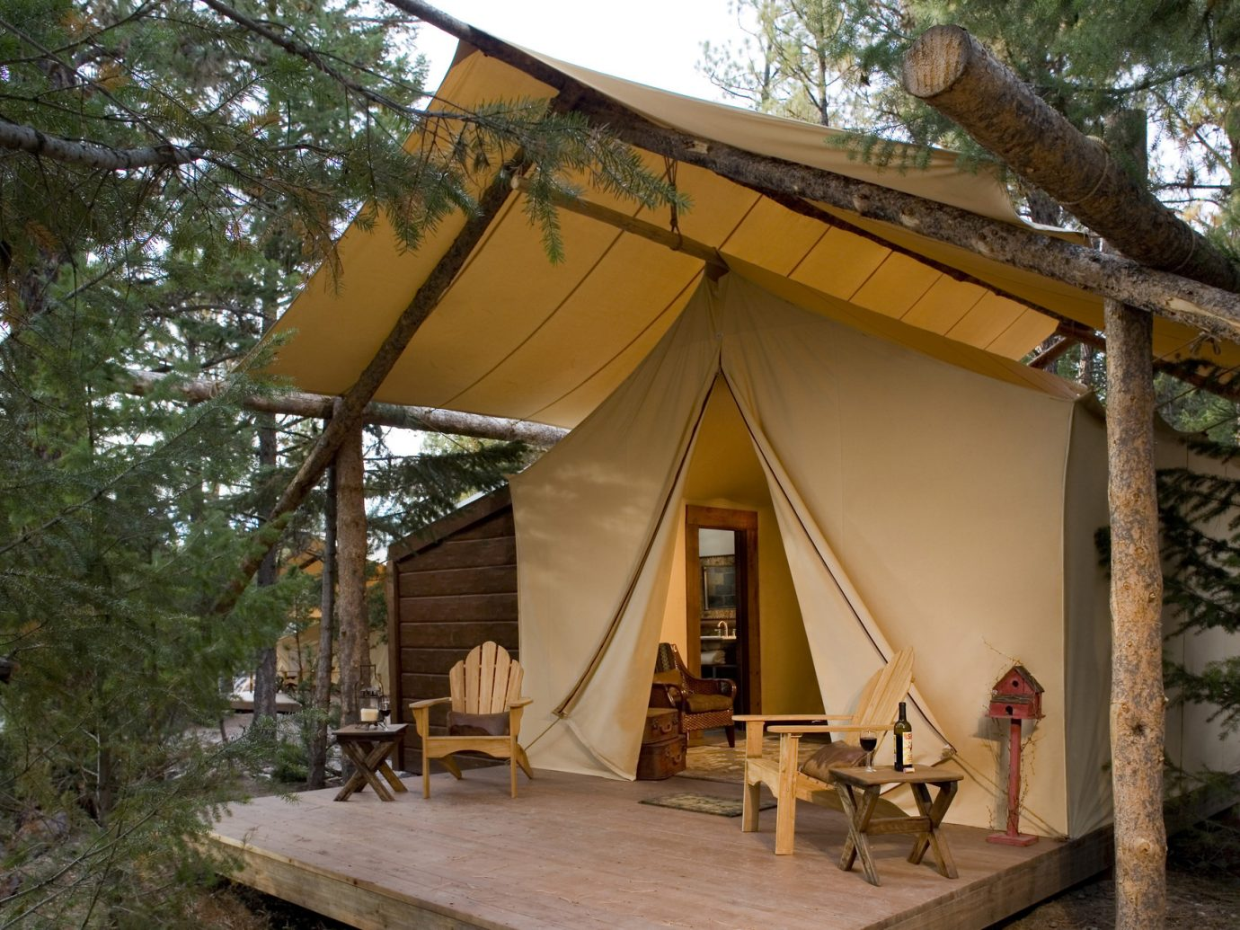 Exterior of a tent at The Resort at Paws Up, Montana