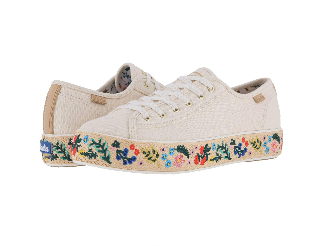 Keds x Rifle Paper Co. Triple Kick Embroidered Jute Sneakers