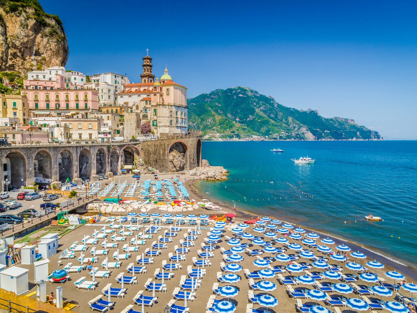 town of Atrani at famous Amalfi Coast with Gulf of Salerno, Campania, Italy.