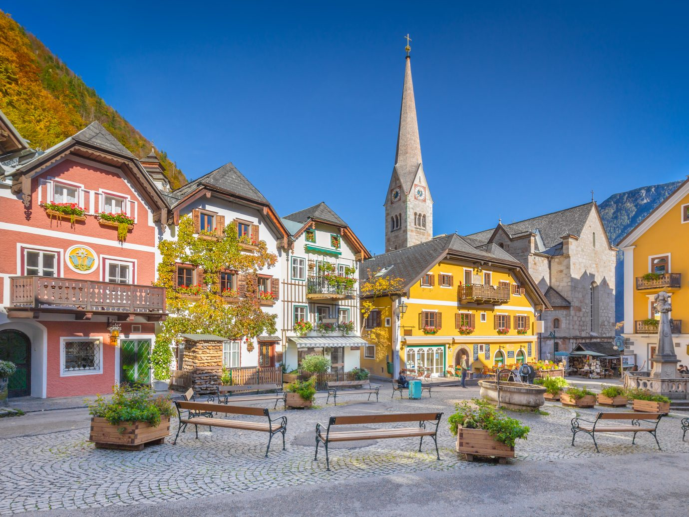 view of the historic town square of Hallstatt Austria