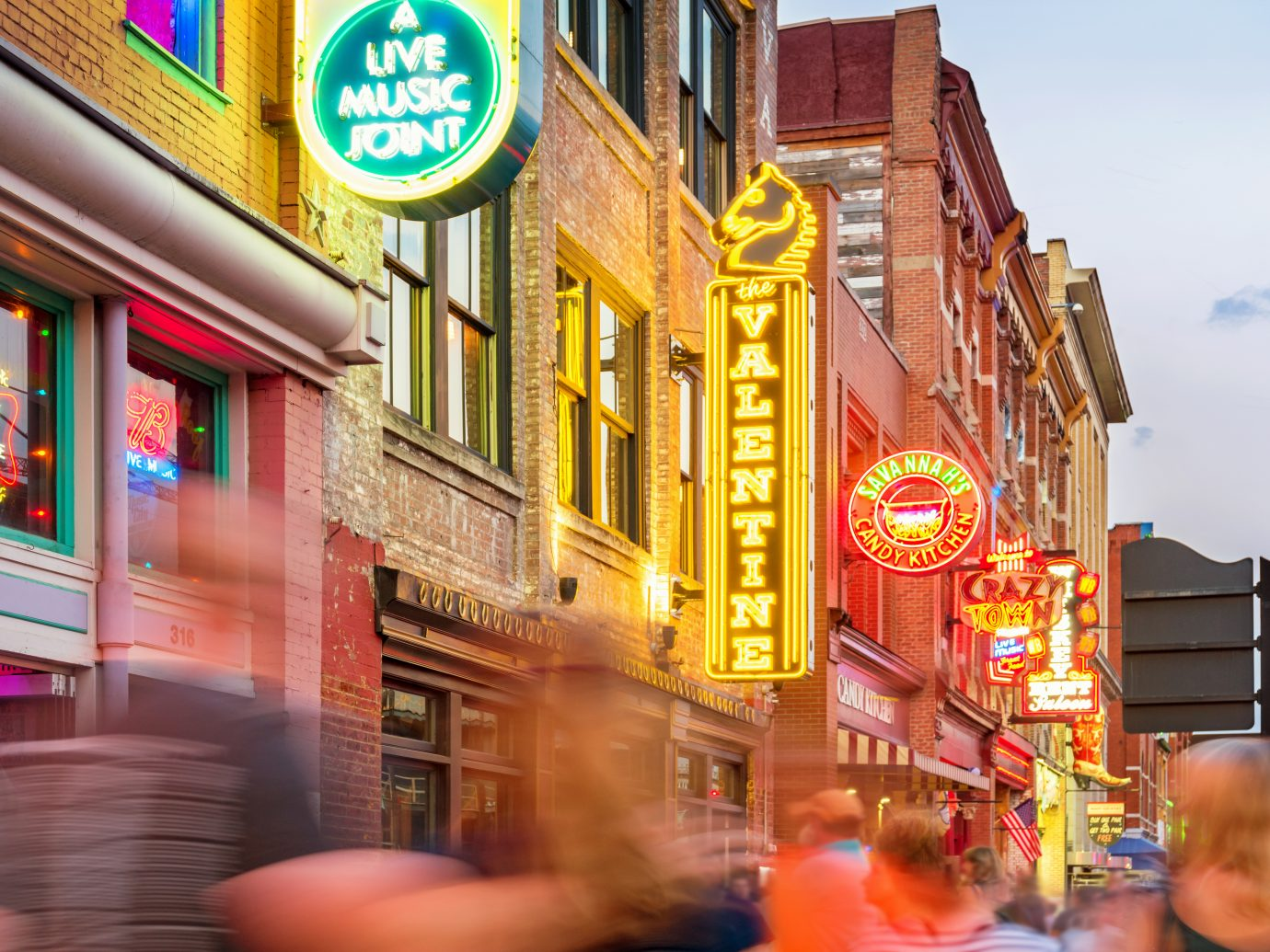 Broadway pub district in downtown Nashville, Tennessee,