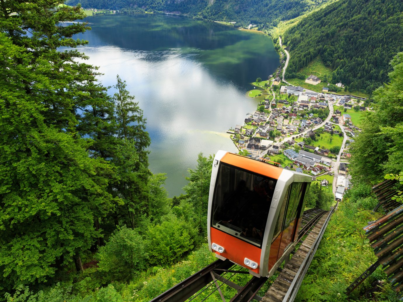 A cable car taking visitors up to Salzwelten mine in Hallstatt