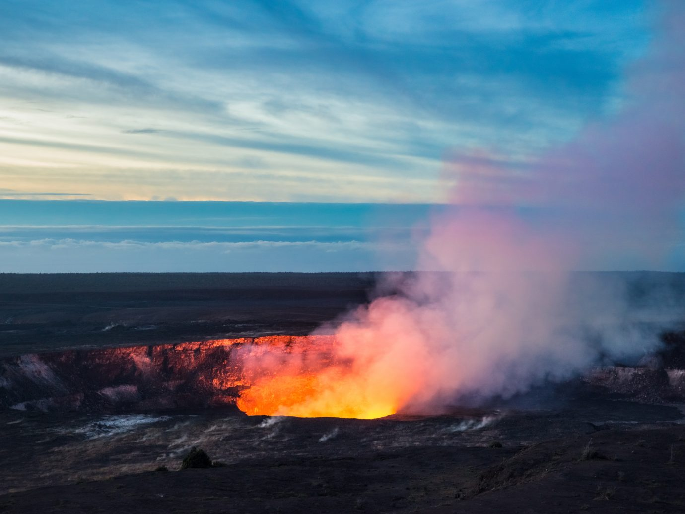 Fire and steam erupting from Kilauea Crater in Hawaii