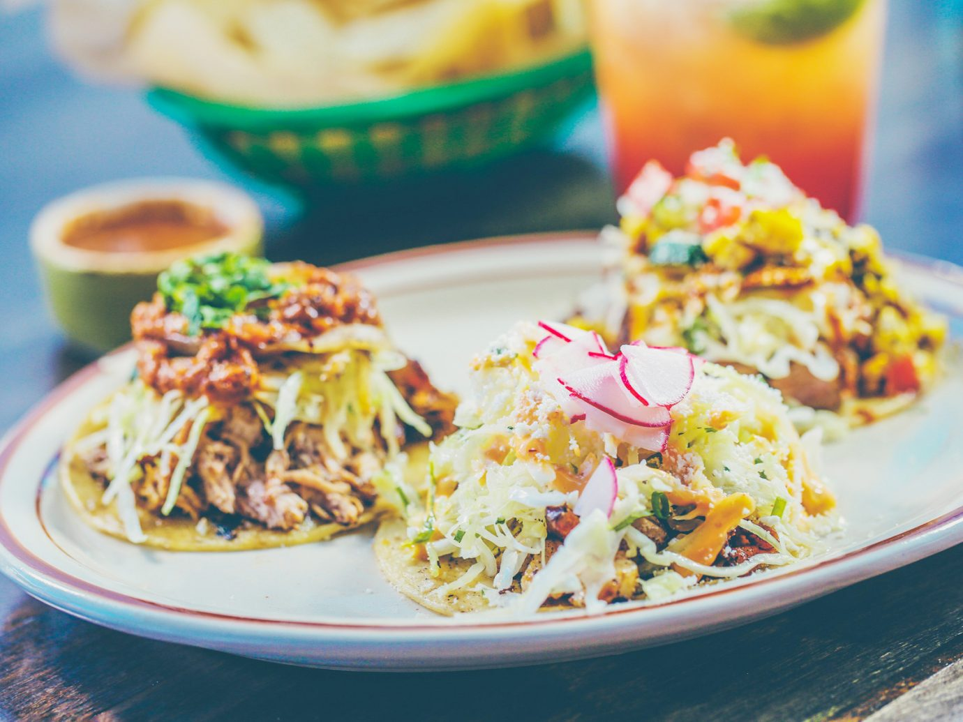Plate of tacos from Los Chingones in Denver Colorado