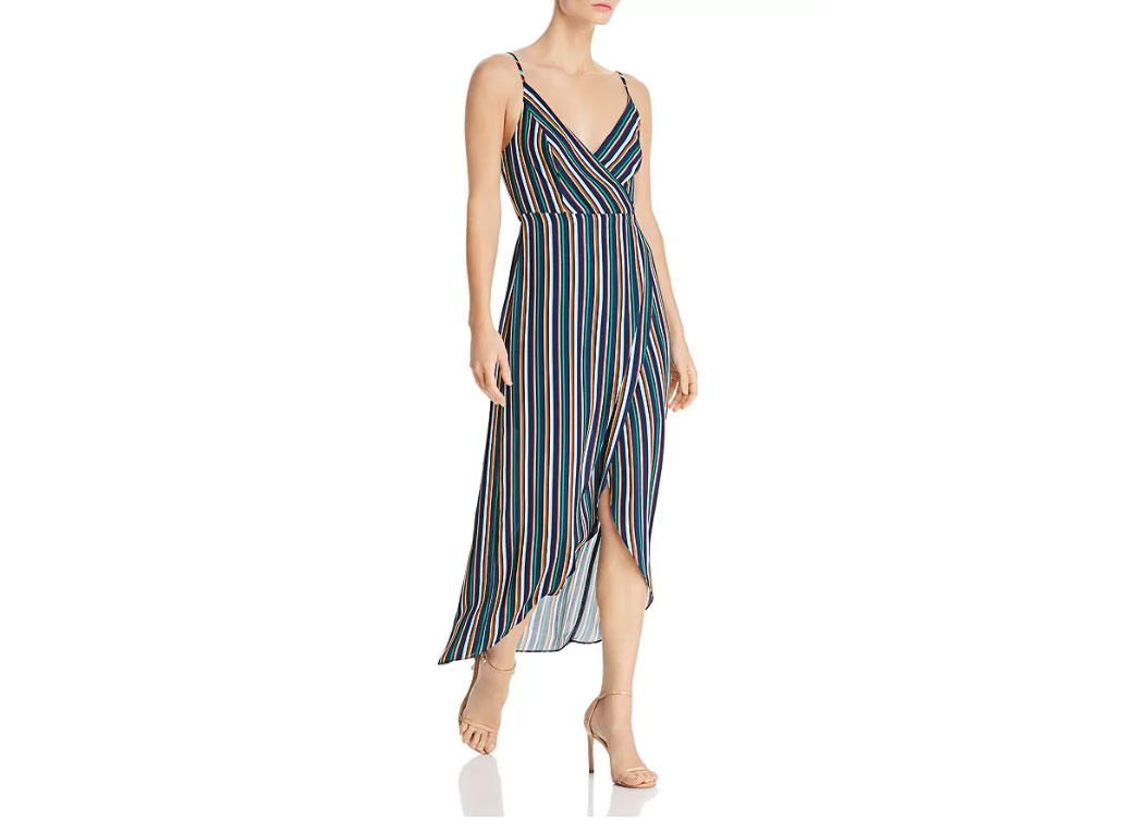 AQUA High/Low Striped Faux-Wrap Dress