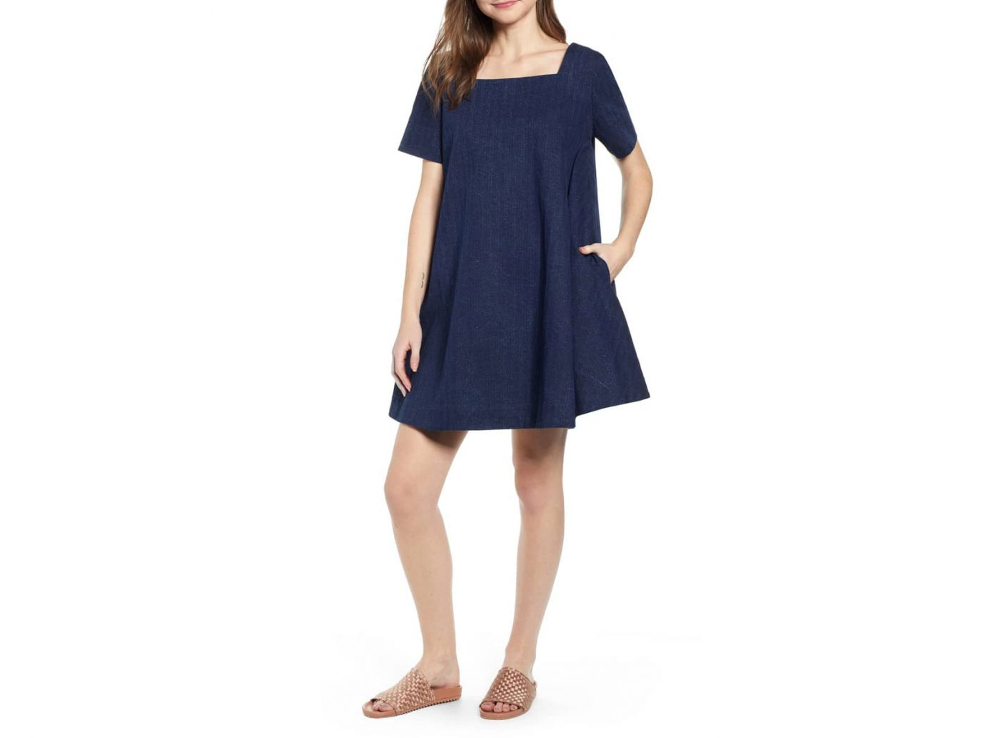 THE ODELLS Damsel x THE ODELLS Bella Square Neck Cotton Swing Dress