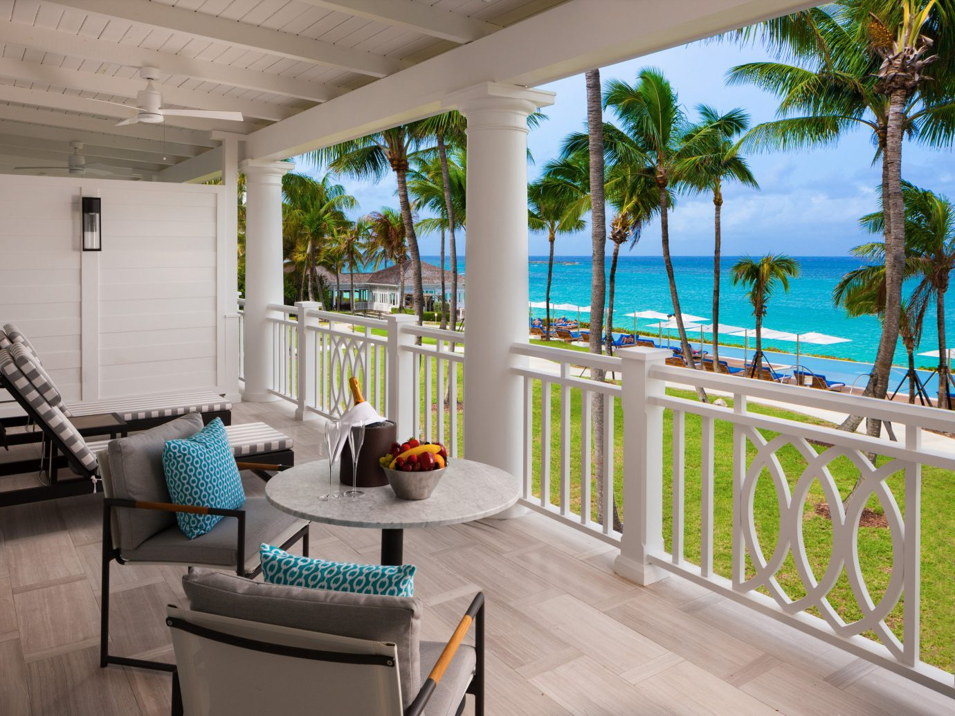 Balcony overlooking the ocean at Four Seasons Ocean Club Bahamas