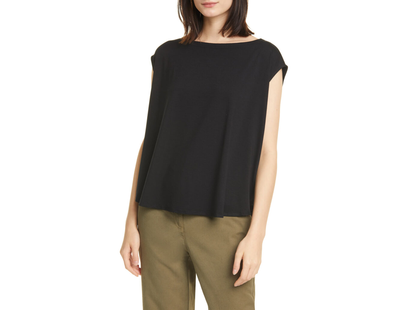 Eileen Fisher Boat-Neck Box Top