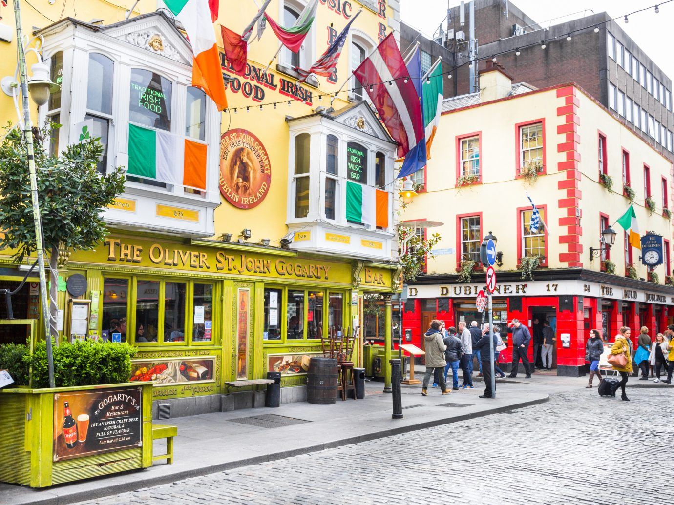 Pub on a street in Dublin Ireland.