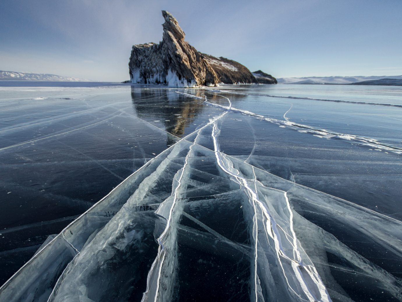 Lake Baikal on a frosty winter day.