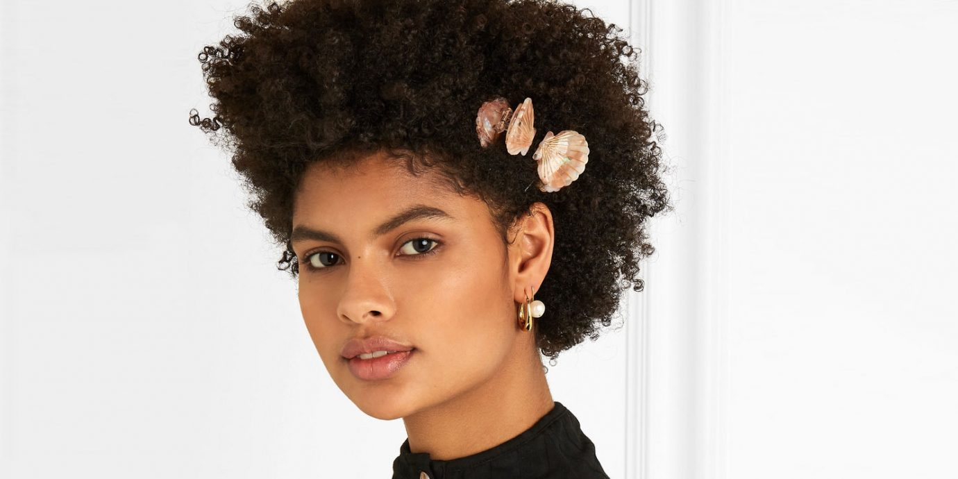 stylish hair accessories, stylish woman with shell hair clips
