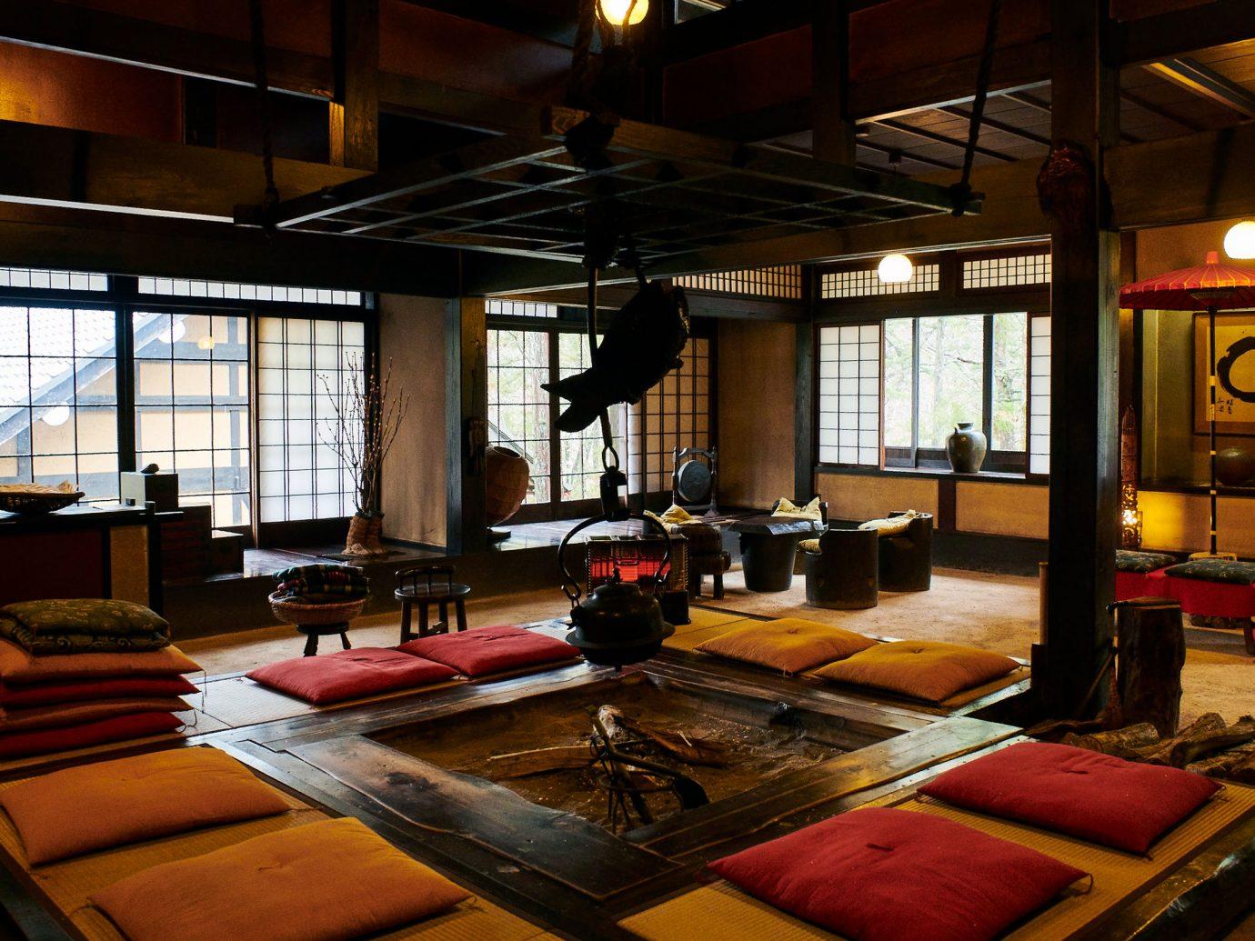 interior fireplace at Wanosato