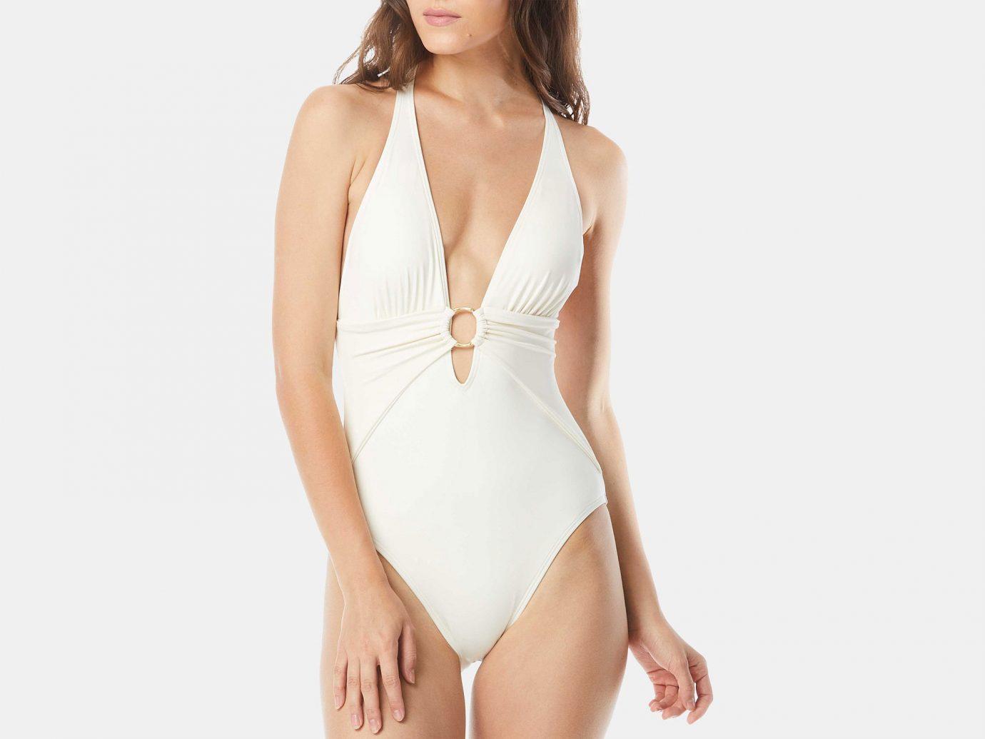 Carmen Marc Valvo Plunge Halter One-Piece Swimsuit
