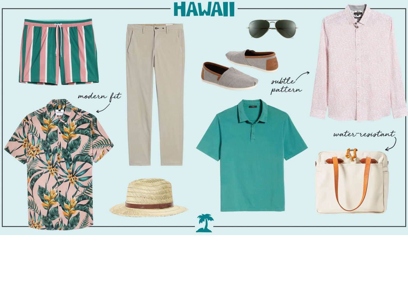 What to wear in Hawaii collage - men