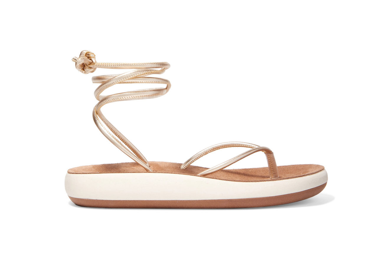 Ancient Greek Sandals Piera Metallic Leather Sandals