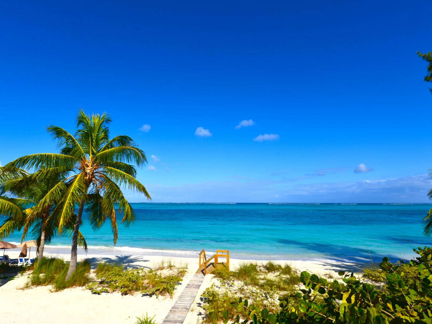 A sunny day at Grace Bay Beach in Turks and Cacos.