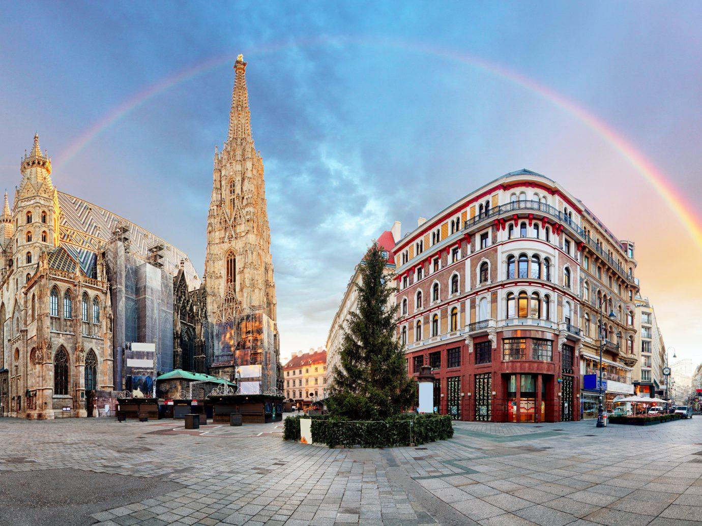 Panorama of Vienna square with rainbow
