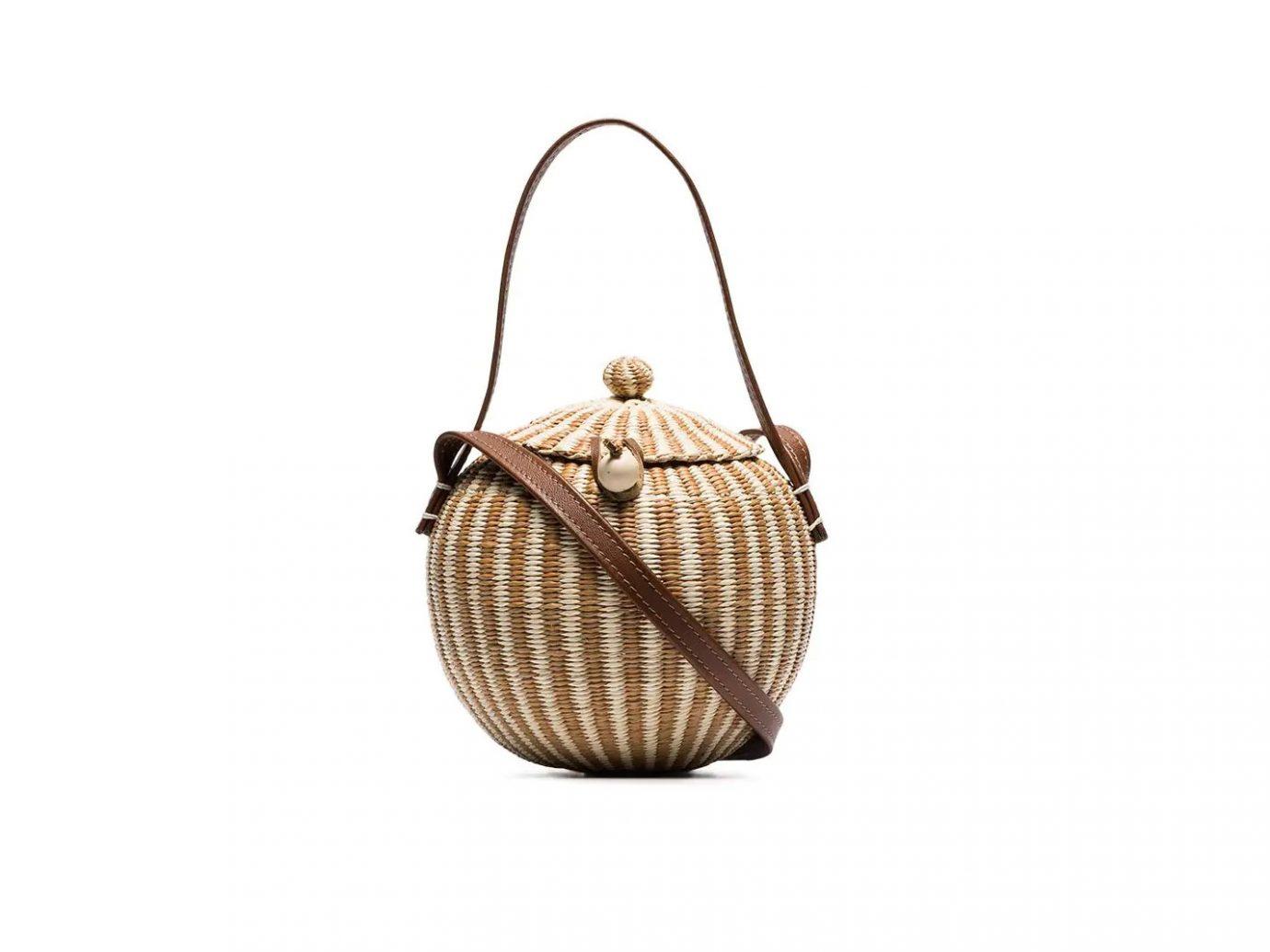 Sensi Studio Brown Coco Straw and Leather Bag