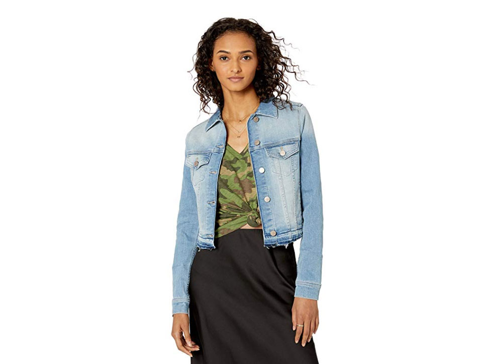 The Drop Women's Downtown Cropped Cutoff Denim Jacket