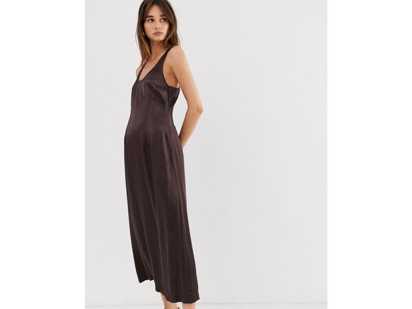 Weekday limited edition satin midi dress in dark brown