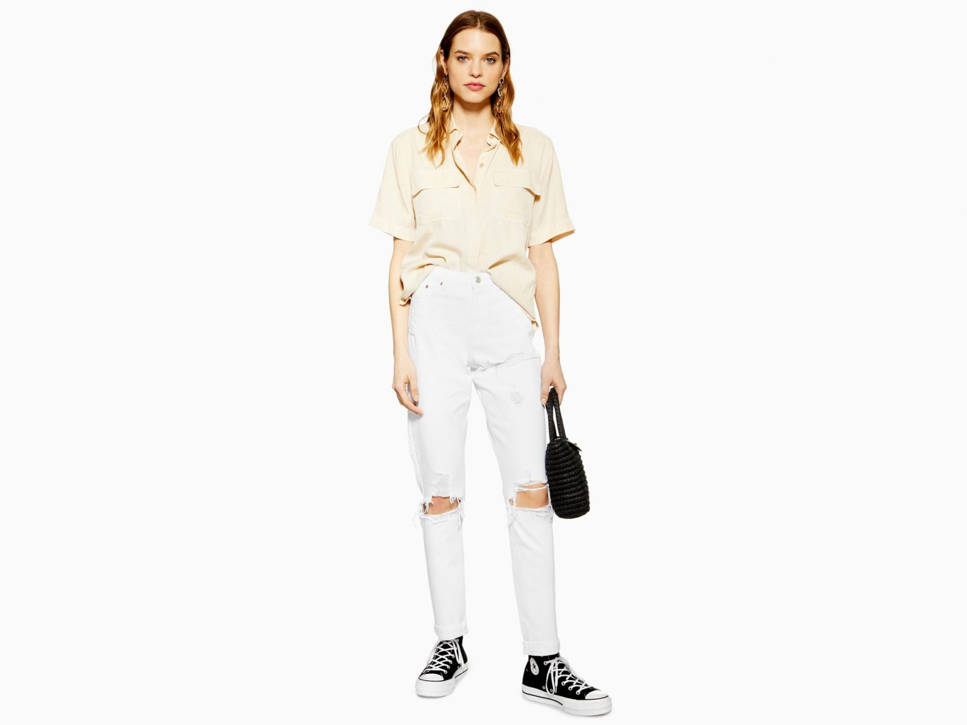 Topshop White Destroy Rip Mom Jeans